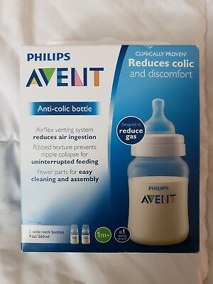 Philips Avent Anti-colic Baby Bottles Clear, 9oz, 2 Piece