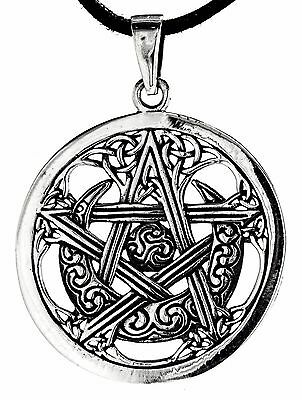 No 228: Pentagram 925 Silver Pendant Protection Moon Sun Celtic Wicca Amulet