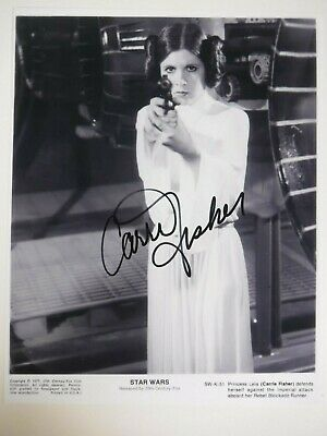 """Carrie Fisher Signed Photo  """"Star Wars"""" Princess Leia"""