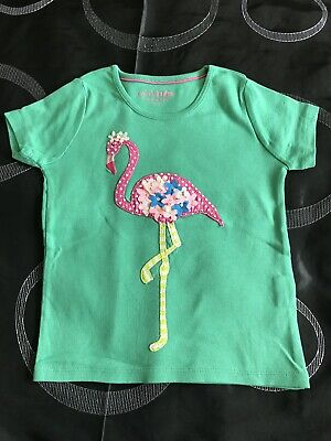 Girl's Mini boden T Shirt With Flamingo Appliqué Age 4-5 Years, VGC