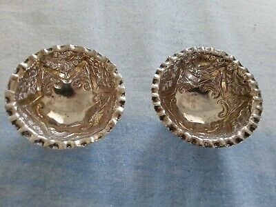A vintage/ antique  PAIR OF SOLID SILVER SMALL BOWLS FULLY HALLMARKED