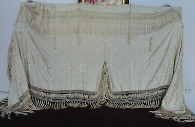 Superb Antique Hand-Embroidered Cantonese Cream Silk Wall-Hanging/Pelmet Signed