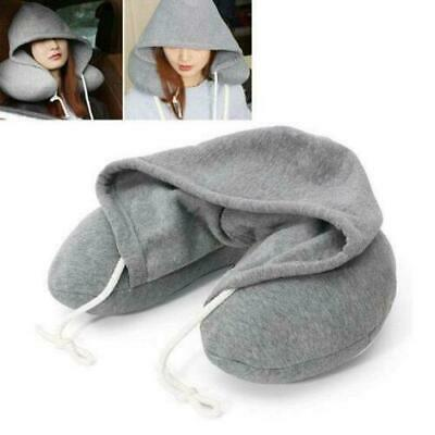 Comfortable Soft  Hooded Travel Neck Pillow, Hoody Flight Cushion Support