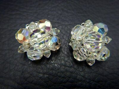 Vintage Clip On Earrings Circles of Glass Aurora Borealis Beads