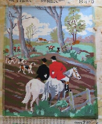 "Completed needlepoint/tapestry The Hunt B349 Penelope  21"" x 16.5"""