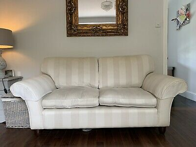 2 X 2/3 Seater Laura Ashley Sofas Striped Ivory From A Pet And Smoke Free  Home