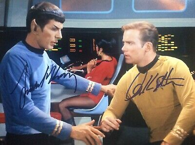 Leonard Nimoy William Shatner beautiful 8 x 10 signed photo Star Trek Fab