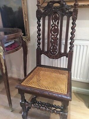 "ANTIQUE  "" POLDARK ""  HALL CHAIR LATE 18th/19th CENTURY GOTHIC DARK WOOD & CANE"