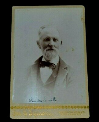 RARE Mormon Pioneer Charles Smith First  UT Watchmaker Cabinet Card Photo