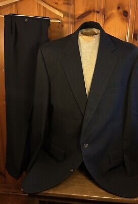 Brooks Brothers Two Button Black Pinstripe Pure Wool Suit 46X Vintage USA