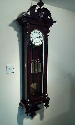 Mahogany antique grand sonnerie striking vienna wall clock c1880.