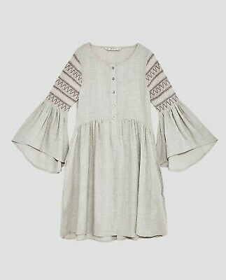 8714228d9 Zara cotton DRESS WITH ELASTIC SLEEVES flare sleeve W embroidery-ref  5598/226-