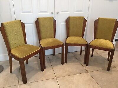 FOUR STUNNING REUPHOLSTERED ART DECO DINING CHAIRS. 1920s. OAK/WALNUT
