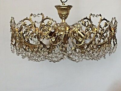 Chandelier, Brass-Crystal, Antique, French/Spanish/ Stunning Basket Flush Mount.