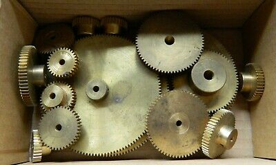 Box Of Various Sized Brass Cogs