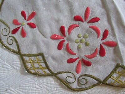 Vintage Antique Mission Arts & Crafts Embroidered Fabric Linen Table Runner