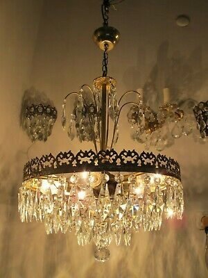 Antique Vnt French Swarovski Crystal Casting Brass Chandelier Lamp Lustre 1940s,