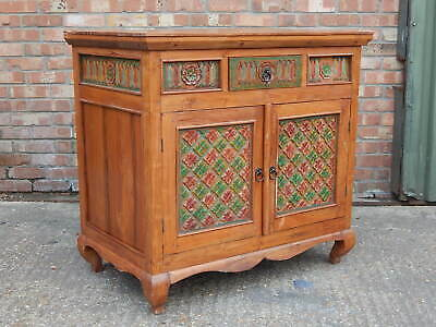Stunning hand made carved indian solid mango wood sideboard cabinet unit painted