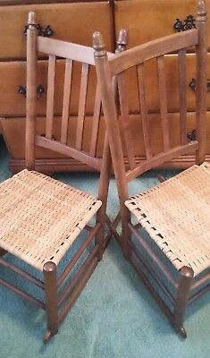 Antique Maple rocking chairs with woven cane seats