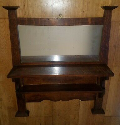 c1910 Antique Arts & Crafts Oak Hanging Wall Shelf w/Mirror Stickley Era Mission