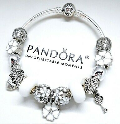 d62bbcda4a1 Authentic Pandora Charm Bracelet Silver Bangle White Flower with European  Charms
