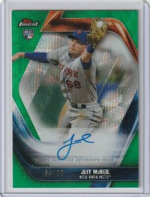 Jeff McNeil 2019 TOPPS FINEST GREEN RC ON CARD REFRACTOR AUTO 54/99 METS