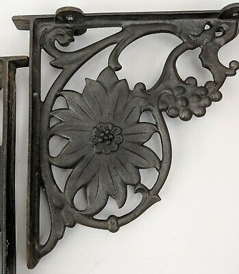 2 Cast Iron Brackets Antique Style Sunflowers Country Rustic Garden Shelf Braces
