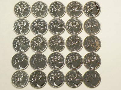 🍁 1976 to 1980 Canada 25 Cents Lot of 25 Specimen Coins Uncirculated  #1259