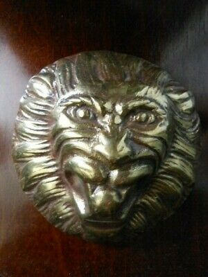 Vintage Brass LION FACE HEAD Paperweight