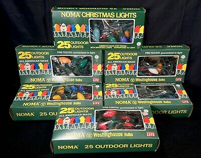 6 Boxes Vintage 1972-73 Noma Christmas 25 Light Strings W/ Westinghouse* Bulbs