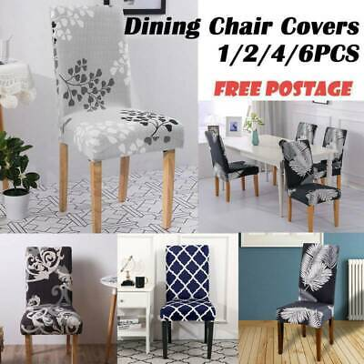 2/4/6pcs Dining Chair Covers Kitchen Home Seat Cover Stretch Removable Slipcover