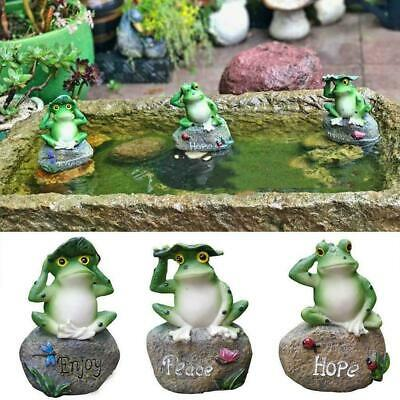Garden Decor Statue Resin Frogs On The Stone Outdoor Patio Good Yard Orname R8Q1