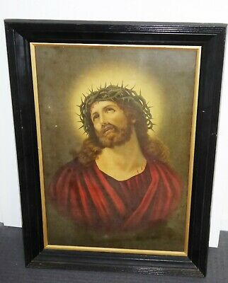 Large 1900s Framed Religious Print of Jesus Ex Church