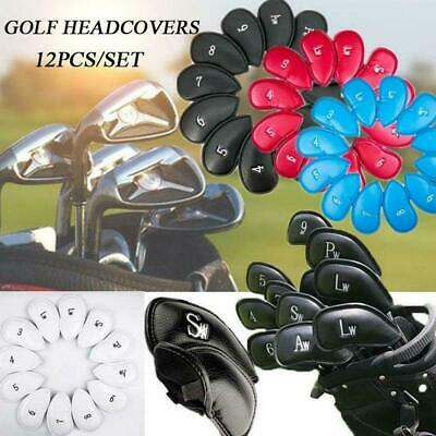 Set of 12Pcs PU Leather Golf Iron Club Head Cover Wedge Putter Headcovers M4Y2