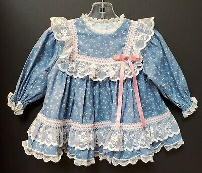 Vintage Bryan Blue Floral Prairie Dress w/Lace Girls Size 12 Months USA Made NEW