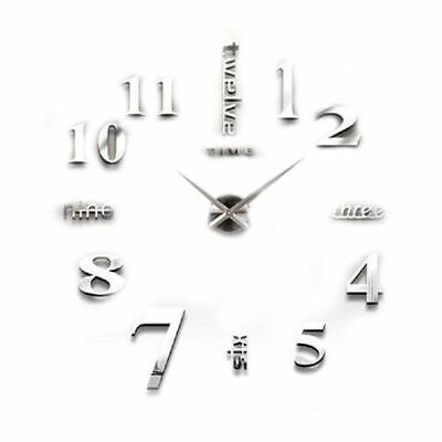 Large Silver 3D Frameless Wall Clock Stickers DIY Wall Decoration for Livin A6A3