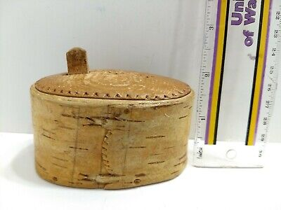Antique Primitive Shaker Firkin Wooden Bentwood Small Box w/Lid - Carved, Handle
