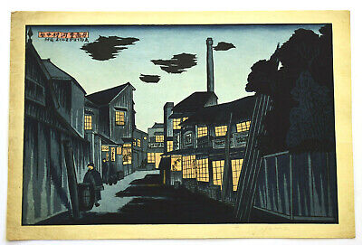 Original Japanese Woodblock Print Okuyama, Gihachiro Night In The Village