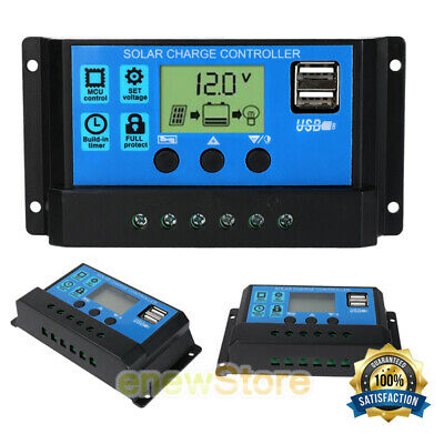30A 60A PWM Solar Charge Controller LCD 12V 24V Battery Regulator USB Port