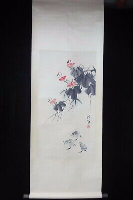 "Very Large Old Chinese Scroll Hand Painting Beautiful Flowers ""LouShiBai"" Mark"