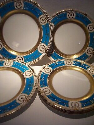 "6 Very Rare Minton Raised Gold Encrusted Turquoise  Plates  Almost 10 1/4"" & 9"""