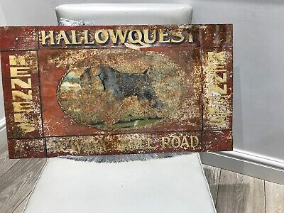 "Unrestored Vtg British Metal Handpainted Boarding Kennels Sign 27x15"" Deco Prop"