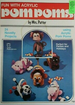 24 NOVELTY ANIMALS & FIGURES craft POM POMS, CLOTHES PEGS pattern booklet