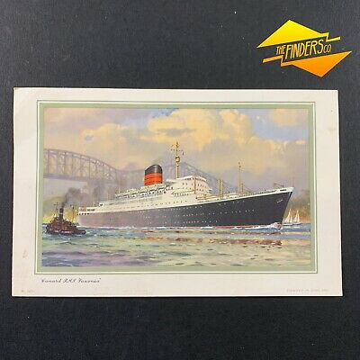 """Vintage 1961 Cunard Line R.m.s """"Saxonia"""" Abstract Of Log Post Card Nautical Ship"""