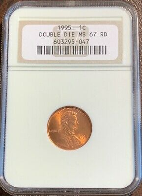 1995 Double Die Lincoln Cent NGC MS67 RD Older Holder DDO