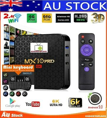 ✔BACKLIT KEYBOARD MX10 PRO 4GB 64GB Android 9.0 6K Player Kodi Wifi Smart TV Box