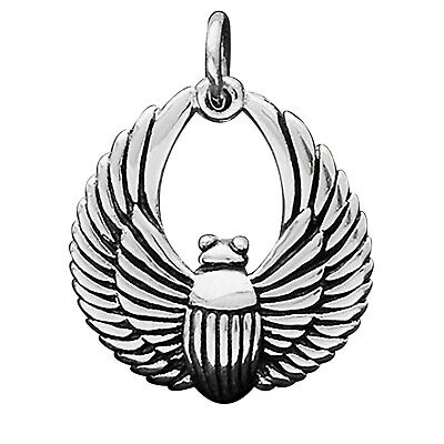Scarab Beetle Charm Sterling Silver .925 Egypt Ancient Egyptian Amulet