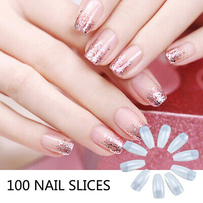 100Pcs Professional Fake Nails Long Ballerina Half French Acrylic Nail Tips F6