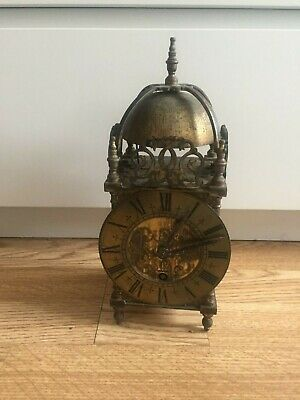 Antique Brass Mantle / Carriage Clock - Lantern
