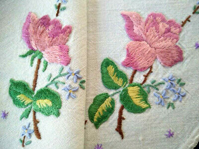 Stunning Pink Roses & Blue For-get-me-nots Vintage Hand Embroidered Centrepiece